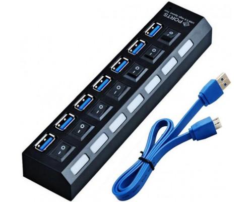 Разветвитель USB 3.0 7port Orient BC-317 внешний с БП 3A, выключатель с индикацией для каждого порта