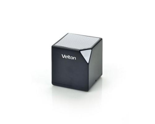 Актив. акуст. система Velton VLT-SP115BTBl , 1х3Вт, беспроводная портативная Bluetooth, MP3, FM, SD, радиус 10м, до 3 часов работы, черный