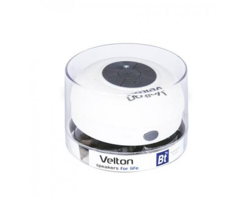 Актив. акуст. система Velton VLT-SP116BTW, 1х3Вт, беспроводная портативная Bluetooth, IP45, крепление-присоска, радиус 10м, до 3 часов работы, белый