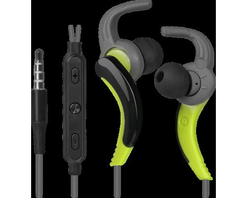 Гарнитура Defender OutFit W765 Grey/Yellow, спортивные, с регулятором громкости, вставные с С-образными фиксаторами, 1,5м (63765)