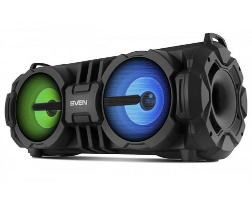 Актив. акуст. система Sven PS-485, сателлиты 2x14Вт, портативная, с MP3 плеером, с FM радио, USB, microSD, караоке, подсветка, черный (Bluetooth)