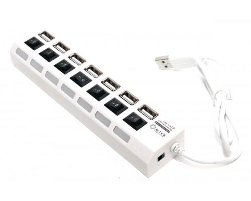 Разветвитель USB 2.0 7port 5Bites HB27-203PWH, внешн., с блоком питания, отключение портов, белый