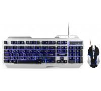 Клавиатура+мышь Гарнизон GKS-510G игровая мультмедиа корпус из алюминия подсветка USB черно-серебристый