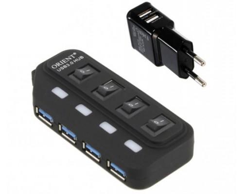 Разветвитель USB 3.0 4port Orient BC-306PS внешний с БП выключатель с индикацией для каждого порта
