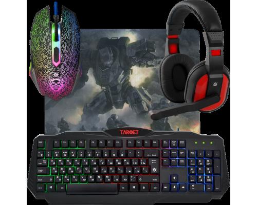 Игровой набор Defender Target MKP-350, игровая клавиатура c RGB подсветкой, игровая мышь 3200dpi, игровая гарнитура, коврик (52350)