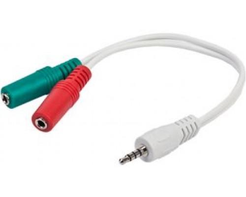 Аудиоадаптер Gembird CCA-417, джек 3,5 штекер(4pin) - 2 джека 3,5 гнездо(микрофон+стерео), 20см