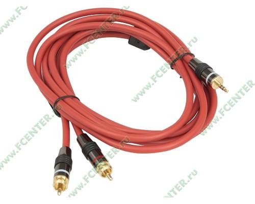 Аудиокабель джек 3.5 - 2 тюльпана Flextron CAU-J2R HER-3.0-01-P2, позолоченные контакты 3,0м красный