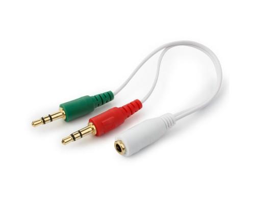 Адаптер аудио Cablexpert CCA-418W, джек 3,5 гнездо 4pin - 2 джека 3,5 штекер 3pin для подключения 4Pin гарнитур 20см