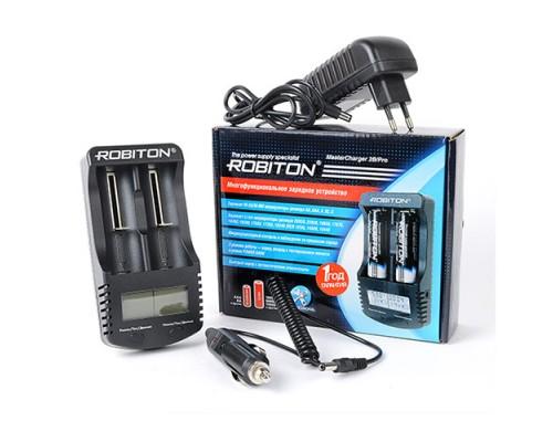 Зарядное устройство Robiton MasterCharger 2B/Pro, 2xAA/AAA/10440/14500/16340/17355/17500/17670/18490/18500/18650/22650/26650 Ni-MH/Ni-Cd/Li-Ion, микропроцессорный контроль, режим PowerBank
