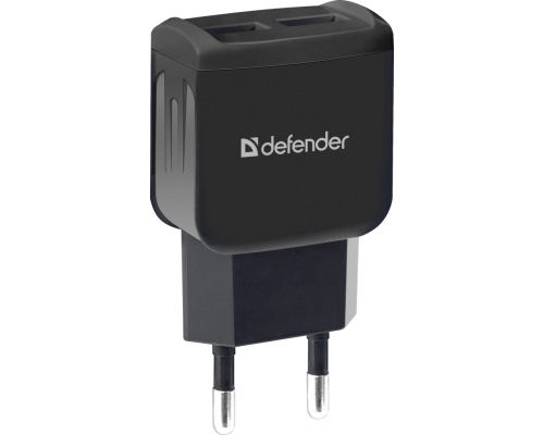 Адаптер питания 220V -> 5V 1000mA Defender EPA-13 2xUSB A черный (83840)