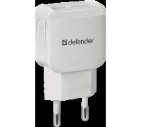 Адаптер питания 220V -> 5V 1000mA Defender EPA-13 2xUSB A белый (83841)