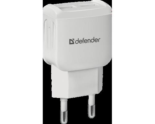 Адаптер питания 220V -> 5V 2100mA Defender UPA-22 83580 2xUSB A белый