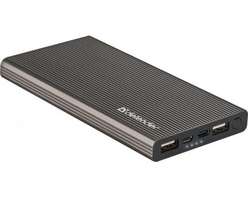 Аккумулятор Defender Extralife Fast, универсальный для портативных устройств 10000mAh Li-Po, 3A, 2xUSB, 1xType-C, мет. корпус (83642)