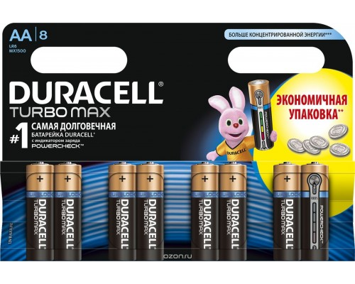 Элемент питания  AA Duracell Turbo MAX LR6-8BLL (8шт./уп.), 1штука