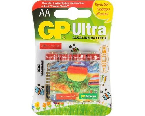 Элемент питания  AA GP Ultra Alkaline 15AUGL (Подари Жизнь!) LR6 4шт./уп. (блистер)