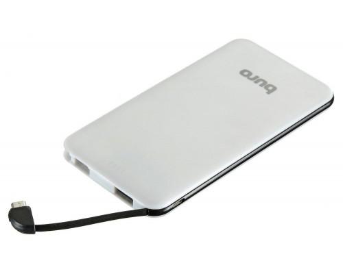 Аккумулятор Buro RCL-5000-BW Power Bank универсальный, для портативных устройств, 5000mAh, Li-Polimer, 1xUSB, 1А, встроенный кабель microUSB, черный/белый