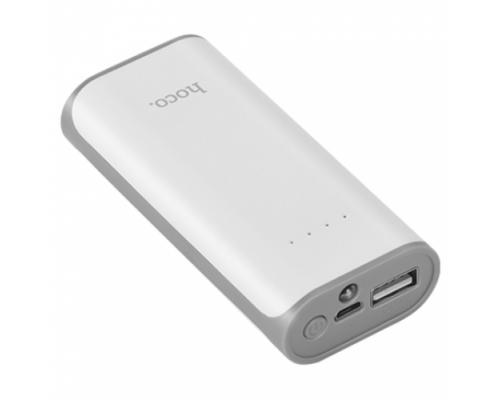Аккумулятор Hoco B21-5200 Tiny Concave универсальный, для портативных устройств, 5200mAh, 1xUSB 1A, индикатор заряда, фонарик, белый