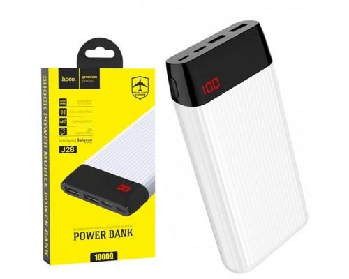 Аккумулятор Hoco J28 White Power Bank универсальный, для портативных устройств, 10000mAh, Li-Polimer, 2xUSB, лампа подсветки, белый