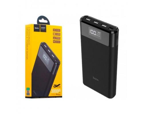 Аккумулятор Hoco B35E Entourage, универсальный, для портативных устройств, 30000mAh, 3xUSB 2,1A, Dual input Tape-C+micro-USB, цифровой индикатор заряда, черный