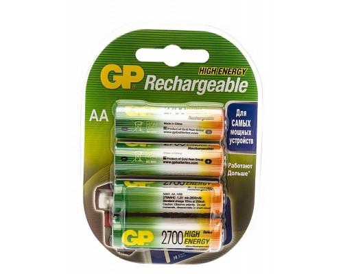 Аккумулятор AA GP Rechargeable 270AAHC NiMH 2700 mAh 4шт./уп. (1шт)
