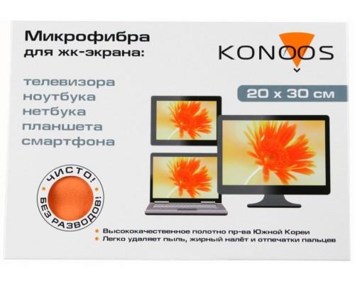 Салфетка чистящая Konoos, из микрофибры для больших ЖК-экранов (20х30см)